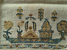Antique 19th C Ottoman Turkish Towel, Silk Embroidery on linen, Scenic Ship, Temple Blue Yellow Brown
