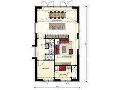 Moderne woning met mansardekap en vide - begane grond