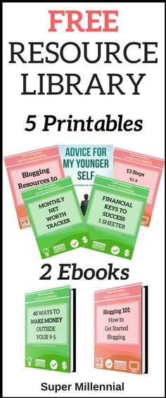 Check out my FREE resource library to learn how to start side hustling, get your finances together, and become a blogger. Join for FREE now #sidehustle #Blogging