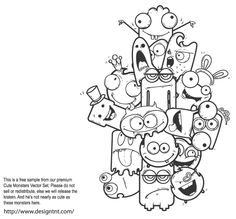 This is a free sample from our Premium Cute Monsters Vector Set The full set allows you to create your custom cute monster There are millions of possible combinations, so make sure you get it! is part of Doodle characters - Doodle Wall, Doodle Art Drawing, Doodle Sketch, Art Drawings, Doodle Coloring, Mandala Coloring, Coloring Pages, Coloring Books, Hip Hop Graffiti