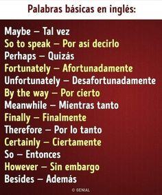 Spanish Phrases, Spanish Grammar, English Vocabulary Words, Learn English Words, Spanish English, English Phrases, Spanish Language Learning, How To Speak Spanish, Spanish Teaching Resources