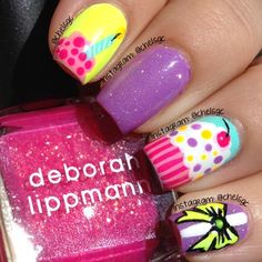 Colors Used:  Essie 'Play Date' & 'Watermelon'; China Glaze 'Yellow Polka Dot Bikini', 'Celtic Sun', & 'Fairy Dust'; Color Club Blue-Ming; NYC 'Polyester Pink'; white and black stripers ⭐ - @chelsgc