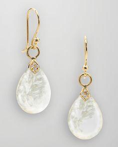 """""""Elizabeth Showers 18k Gold Diamond Mother of Pearl Teardrop Earrings"""""""