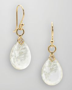 """Elizabeth Showers 18k Gold Diamond Mother of Pearl Teardrop Earrings"""