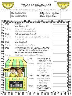 Types of Sentences Worksheet FREEBIE! declarative, imperative, exclamatory, interrogative  http://www.teacherspayteachers.com/Product/Types-of-Sentences-Worksheet-FREEBIE-1312404