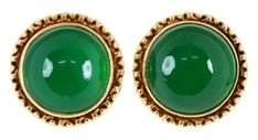 A PAIR OF CHRYSOPRASE SET GOLD EARRINGS, MARKED 14CT, W 18.5MM, 11.3G  Sold @ Mellors & Kirk
