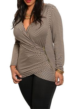 3bf84309e5d11 Black Tan Plus Size Trend Sexy Wrap Front Striped Dressy Top  plussize   plussizefashion