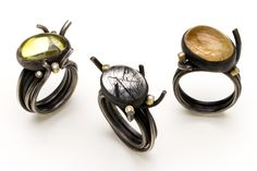 Twig rings in oxidised silver with quartz and diamonds set in 18 carat gold by Daphne Krinos
