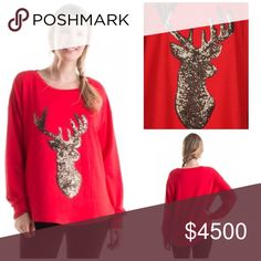 """⚫️BLACK FRIDAY SALE⚫️AllThatShimmersReindeerTop ❤️️Only have *1* in each size left❤️Superior quality, oversized fit, perfect drape, holiday reindeer sequin top, thicker stretchy soft blend of 70% Rayon/25% Poly/5% Spandex. True red w/ bronze brown colored sequins. Approx measures laid flat please refer 2 measures for best fit: (S pit2pit 21""""W, 25.5"""" L down middle-fit is S/M) (M pit2pit 23""""W, 26""""L down middle-fit is M/L) (L pit2pit is 24""""W, 26.25""""L-fit is L/XL). NIP directly from vendor❌NO…"""