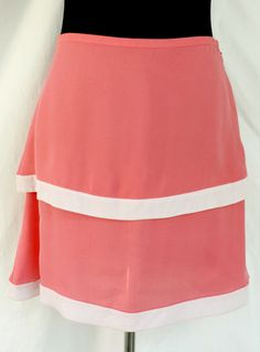 Get it at Bad Reputation! CYNTHIA ROWLEY #PinkSilk Above Knee Length #Skirt  - Size 6, Tiered, Two Tone #CynthiaRowley #Tiered #Pink #Silk #Gorgeous #Style #Fashion