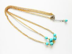 Hair Accessory Summer Golden & Silver Chains w/ Turquoise Beaded Stone, Head Piece, Jewelry