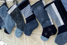 Denim Christmas Stockings -- Beautiful use of old jeans!