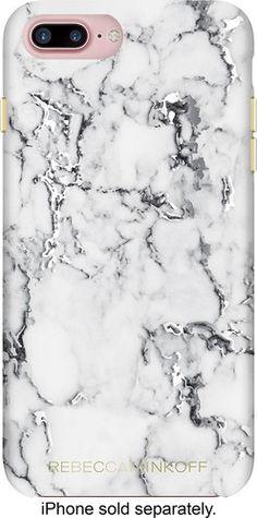 Incipio - Rebecca Minkoff Double Up Case for Apple® iPhone® 7 Plus - Marble Print Silver Foil