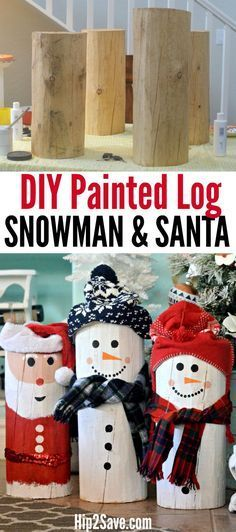 18 Awesome DIY Christmas Decoration Ideas - For Creative Juice : DIY Painted Santa and Snowman Logs.Turn an ordinary wood log into a snowman or Santa Claus using paint and a couple of winter accessories! Noel Christmas, Diy Christmas Gifts, Rustic Christmas, Christmas Projects, Simple Christmas, Christmas Ornaments, Primitive Christmas, Christmas Ideas, Cute Christmas Decorations