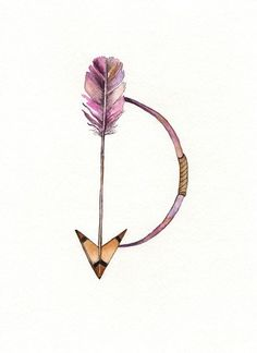 Bow and Arrow / Pink / Minimal / Archival Watercolor Print. $20.00, via Etsy.