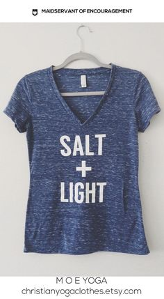 Christian Yoga Top Super Comfy Tee in Blue Marble Vneck. Super Soft Tee with bold Salt + Light Matthew 5:13-16    Each shirt is created by
