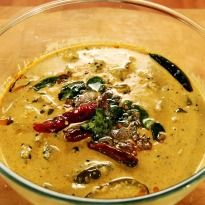 Buttermilk Sambhar: Sambhar is one of the most loved South Indian cuisine dish. Lady finger and brinjals cooked in spices, tamarind and whole chillies. Very coconut-y, Very Southern.