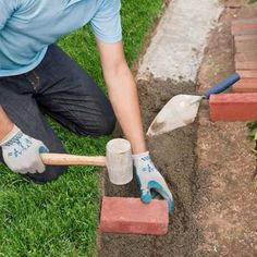 How to Edge a Garden Bed With Brick is part of Garden pavers - Use clay pavers to form a tidy border to separate your lawn from plantings Paver Edging, Brick Garden Edging, Stone Edging, Garden Pavers, Lawn Edging, Lawn And Garden, Garden Beds, Paver Walkway, Landscape Bricks
