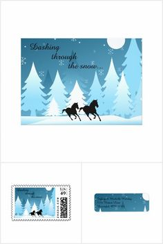 Dashing Through the Snow Horse Christmas Holiday Collection.  This design is available on greeting cards, custom postage stamps, address labels and stickers.