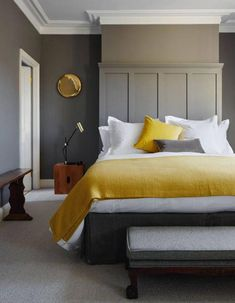Discover bedroom ideas on HOUSE - design, food and travel by House & Garden. Discover bedroom ideas on HOUSE - design, food and travel by House & Garden. Mustard textiles complement grey walls in this London house. Home Decor Bedroom, Bedroom Inspirations, Bedroom Interior, Bedroom Design, Home Decor, Small Bedroom, Bedroom Colors, Stylish Bedroom, Remodel Bedroom