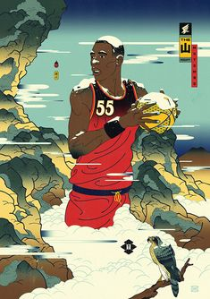 Andrew Archer is the creative force behind Edo Ball, envisioning NBA basketball players in the style of ancient Japanese woodblock prints called, ukiyo-e. Andrew Archer, Slam Dunk Anime, Best Dunks, Basketball Art, Basketball Players, Hip Hop Art, Black Mamba, Sports Art, Asian Art