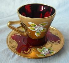 Murano venetian ruby glass with floral overlay decoration cup and saucer