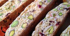 The red and green make a very pretty cookie. You may use other nuts instead of pistachios, if you prefer. Cookie Desserts, Just Desserts, Cookie Recipes, Dessert Recipes, Biscotti Cookies, Biscotti Recipe, Almond Cookies, Chocolate Cookies, Cranberry Recipes