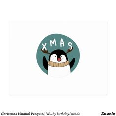 Christmas Minimal Penguin | Winter Is Coming Postcard Christmas Bunny, Xmas, Winter Is Coming, Business Supplies, Party Hats, Funny Cute, Penguins, Postcards, Festive