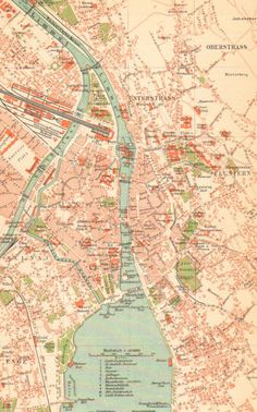 Original, beautifully detailed and coloured antique map of the city of Zurich, Switzerland, printed in 1905.  Zurich is the largest city in Switzerland and the capital of the canton of Zurich. Permanently settled for around 7,000 years, the history of Zurich goes back to its founding by the Romans, who, in 15 BC, called it Turicum.