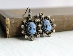 Romantic CrystalStudded Blue Cameo Dangle by belleonabudget, $11.00