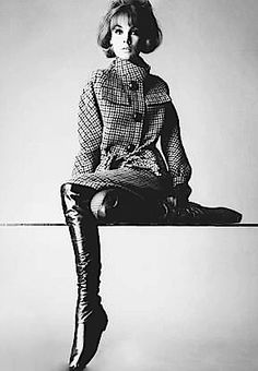 Portrait of English model Jean Shrimpton modeling some very tall leather boots, United States, 1963, photograph by Irving Penn.