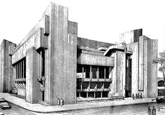 Early Rendering for Art and Architecture building, New Haven, Paul Rudolph 1958