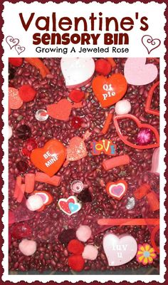 A sensory bin with heart- simple Valentine themed fun for little ones.