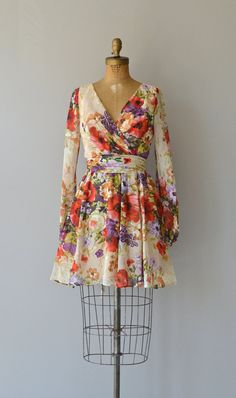 Native Blooms dress vintage 1970s dress floral by DearGolden