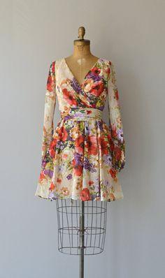 Native Blooms dress vintage 1970s dress floral by DearGolden