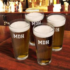 Personalized Three Initial Set of 4 Collegiate Icon Pint Glasses - Monogram Online