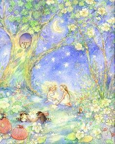 Gathering Stars XL Print 11X14 Night Scene Fairys by Periwinklesky, $36.99