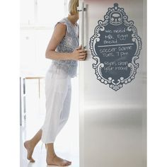 Chalkboard Fridge Wall Decal- perfect for the new fridges that aren't metal... Who would have thought!!!