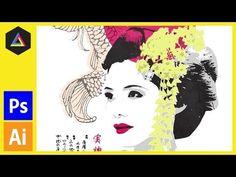 Screen Print Effect | Japanese Geisha | Photoshop, Illustrator Tutorial - YouTube