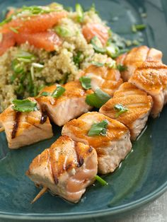 Salmon Kebobs with Quinoa and Grapefruit Salad recipe from Food Network Kitchen via Food Network