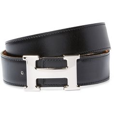 Hermès Women's Vintage Black Leather Constance Belt - Black (12.671.095 IDR) ❤ liked on Polyvore featuring accessories, belts, black, vintage belt, hermès, genuine leather belt, 100 leather belt and real leather belts