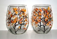 Painted Stemless Wine Glasses Fall is in the Air Hand Painted Set of 2 / 21 oz.
