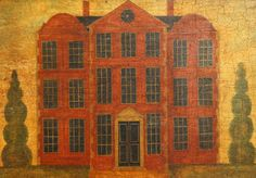 """A primitive-style painting of an early 18th Century country house 20th Century Oils, 38cm x 53cm, (15"""" x 21"""")"""
