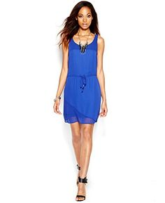 Bar III Womens MeshTrim Drawstring Sleeveless Dress XL Clematis Blue >>> Continue to the product at the image link.