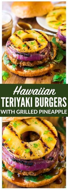 Hawaiian Teriyaki Burgers with Grilled Pineapple and Onion. Juicy teriyaki burger patties made with ground chicken or turkey, glazed with an easy homemade teriyaki burger sauce. Simple, healthy, and d (Grilled Burger Recipes) Ground Turkey Burgers, Ground Chicken Burgers, Grilling Recipes, Beef Recipes, Cooking Recipes, Healthy Recipes, Simple Delicious Recipes, Healthy Cake, Healthy Drinks