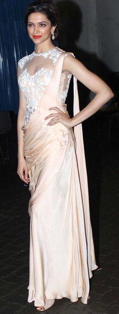 Deepika Padukon in an elegant concept sari by designer Sonakshi Raaj. #Bridelan