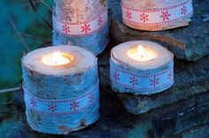 How to make Christmas birch candleholders
