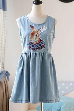Rabbit Print Sleeveless Denim Dress OASAP.com