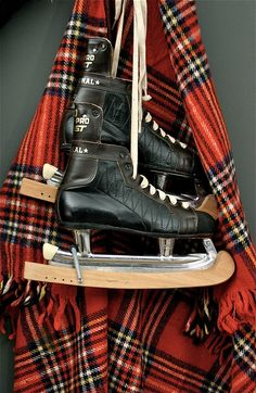 Vintage skates and plaid! Are you ready to learn how to skate, Janie? Brad is lending us his old skates...