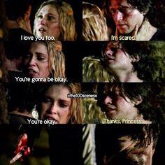 "#The100 2x08 ""Spacewalker"" - Finn and Clarke >>> I'm a Bellarke shipper but i cried when i watched this scene. So sad >_<"